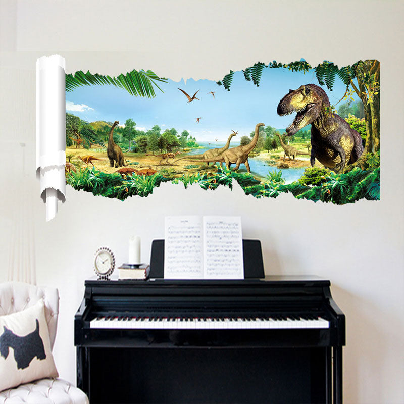 Wall Stickers New Jurassic Park Dinosaur kids room decoration 3d wall stickers furniture sticker  home decor living room