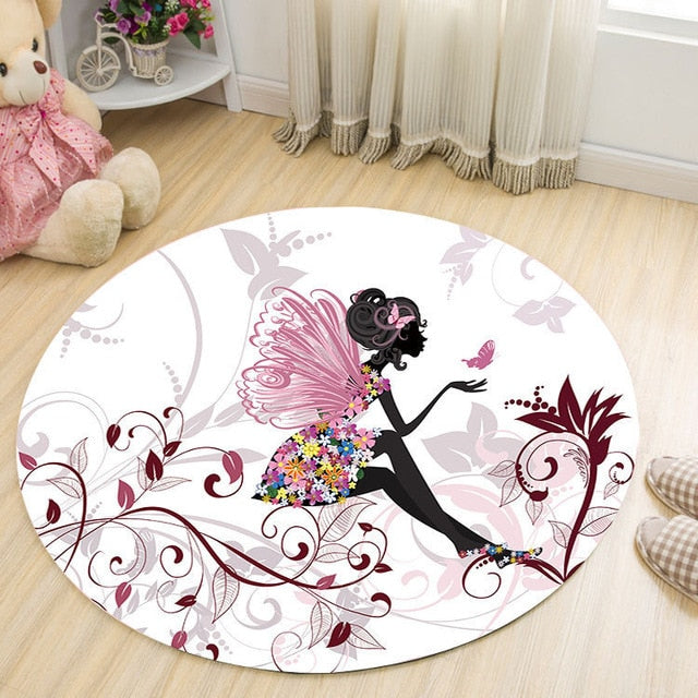 Elegant Lady Round Carpet Living Room Parlor Girls Bedroom Chair Rugs Toilet Bathroom Mat Butterfly Decorations Carpet tapetes
