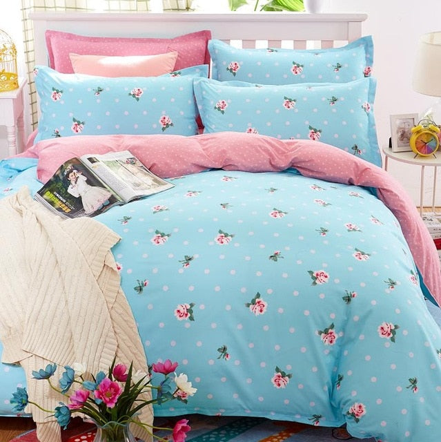 Classic Bedding Set 5 Sizes Grey Blue Flower Bed Linen
