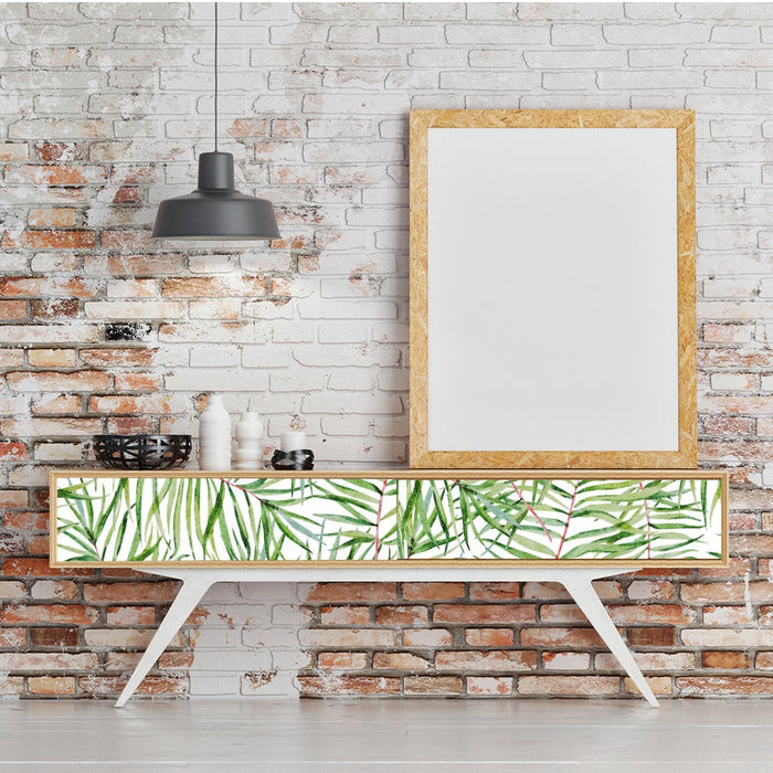 Funlife Nordic Wall Sticker for Living Room,Green Plants Wall Paper Rolls,Self Adhesive Wallpaper Stickers Removable Home Decor