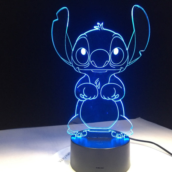 Stitch Cartoon 3D Lamp Bedroom Table Night Light Acrylic Panel USB Cable 7 Colors Change Touch Base Lamp Kids Gift