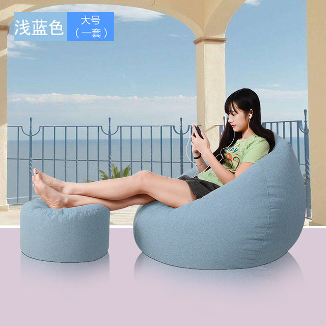 Bean Bag Cover Without Filling, Ottoman Set Lounger