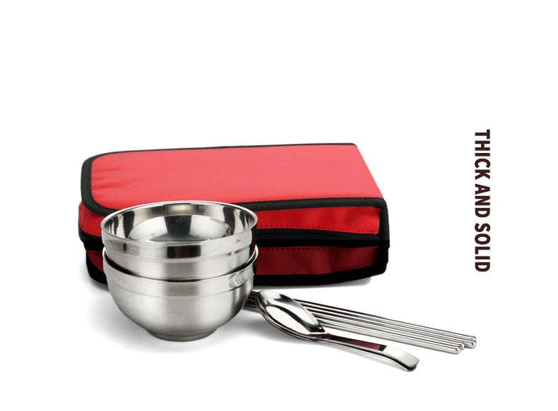 Tri-polar Stainless Steel Portable Tableware for Camping and Travel Tableware