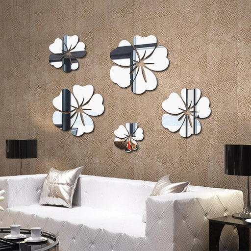 Flower Pattern Wall Sticker Home Decor 3D Wall Decal Art DIY Mirror Wall Stickers 5 pcs  Living Room Decoration Silver/Gold