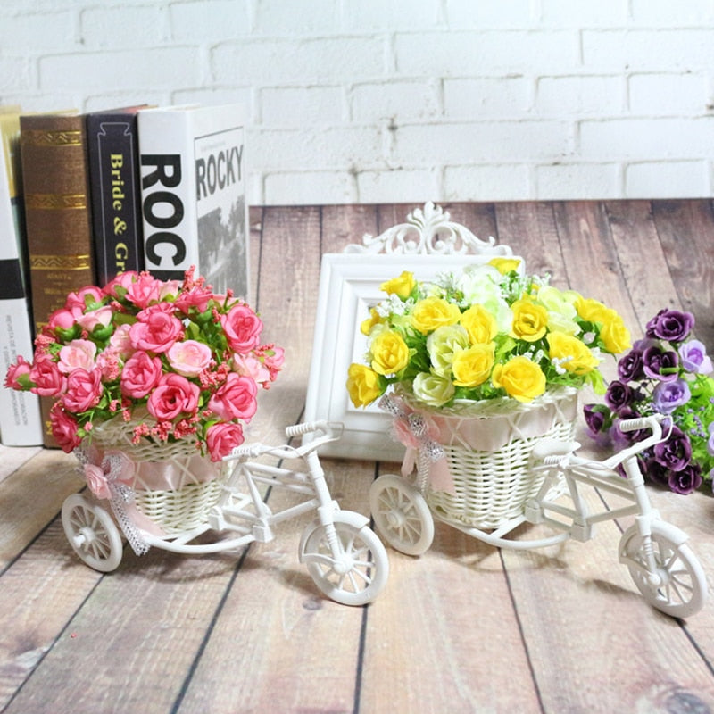 Rattan Tricycle Bike Flowers Basket Plant Vase Home, Garden Decorations Storage Case