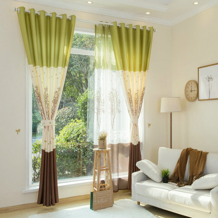 Pastoral Blackout Curtains for Living Room Kitchen Window Curtain for Bedroom Shades Curtains With Tulle Custom Curtains Drapes