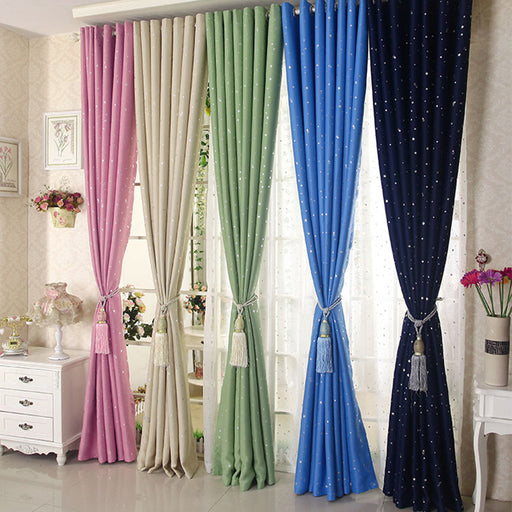 Modern Star Window Curtain Hooking Blackout Children Curtains  Decoration Draperies Living Room Bedroom 100*130cm (about 39x51 inches)