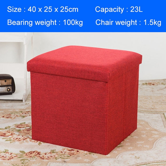 Foldable Sofa with Storage Space Wash-free Modern Room Shoes Stool Furniture Upholstered Pouffe Footstool Tea Folding Seat