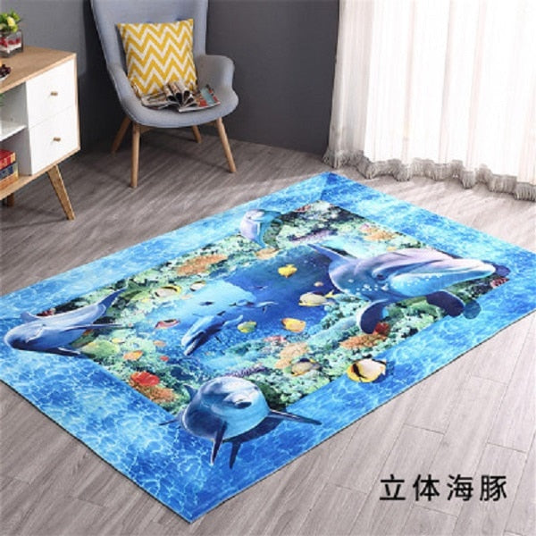 Beach Scenery Printed Carpet 3D For Living Room Bedroom Anti-slip Floor Mat Fashion Kitchen Carpet Area Rugs 40x60cm