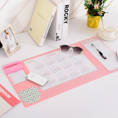 Office Desk Accessories Mat Set includes Multi-functional Pen Holders, Writing Pads, 2018 2019 Calendar, Mousepad, Smartphone stand, 4 Candy Colors perfect gift