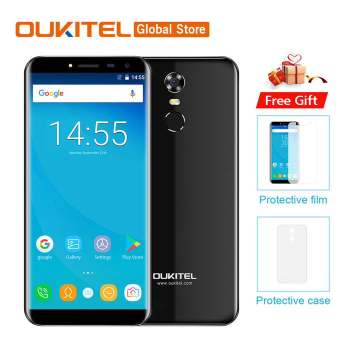 "OUKITEL C8 3G Smartphone 5.5"" 18:9 Ratio Full Vision Android 7.0 Dual SIM 3000mAh battery Quad Core 1.3GHz 2GB RAM 16GB ROM 5MP + 13MP Camera Fingerprint WiFi GPS Bluetooth Cellphone (Black)"
