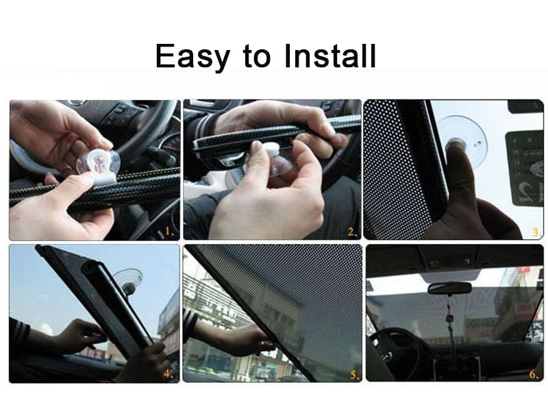 Retractable Car Windshield Anti UV Visor Sun Shade for Auto Front, Rear, Side Window Sunshades 2 Sizes - 23in X 50in and 16in X 24in