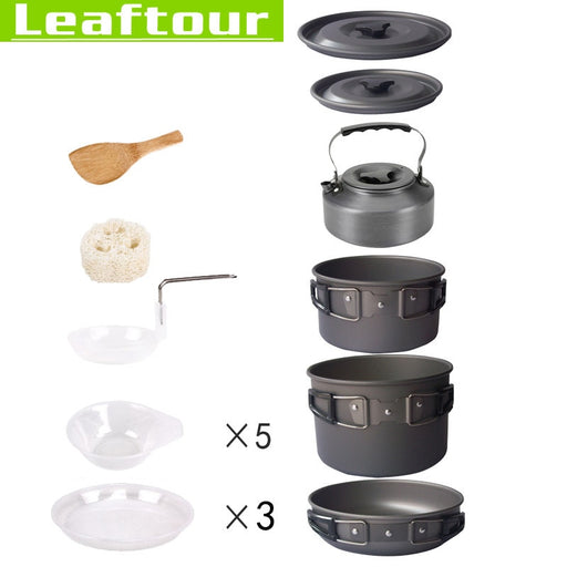 Aluminium Alloy Camping Outdoor Cookware Pot Set for 5 Persons