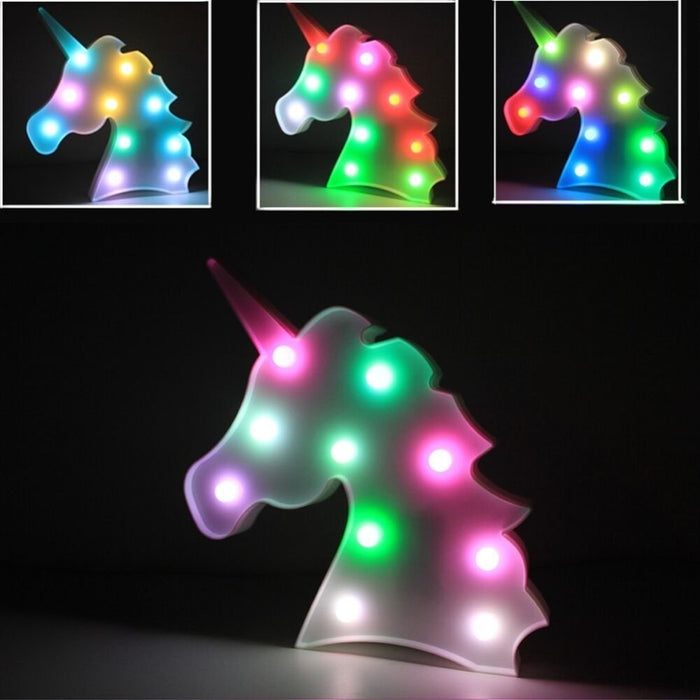 Unicorn Head 3D LED Night Light Baby and Kids Bedroom Lamp Animal Table Decoration