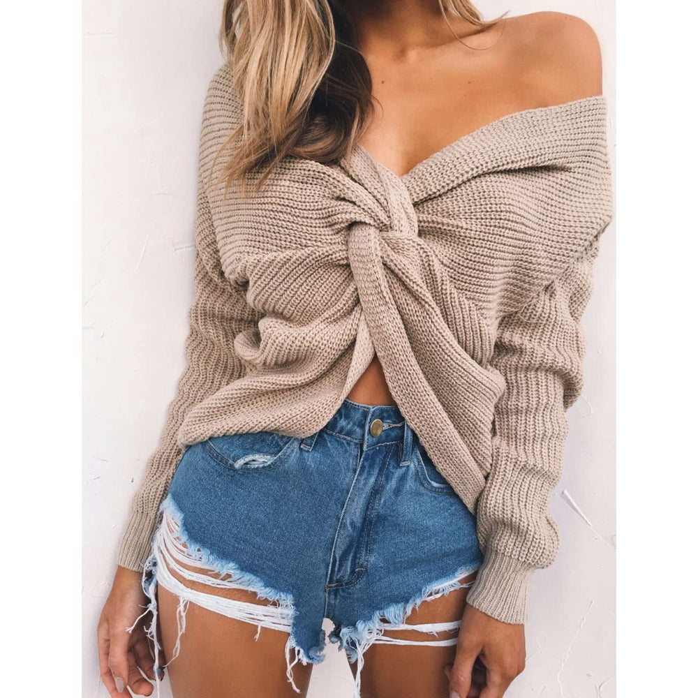 V Neck Twisted Back Sweater Long Sleeve Knitted Sweaters