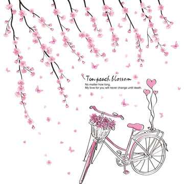 Pink Peach Flowers Bicycle Cartoon Girl Wall Stickers Wall Decals for Kids Rooms