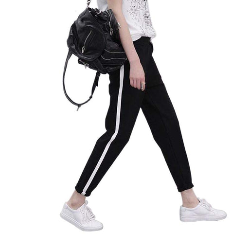 Harem Women Casual Sweatpants Loose Trousers Black Striped Side Plus Size M-XXL Elastic Waist, Pockets