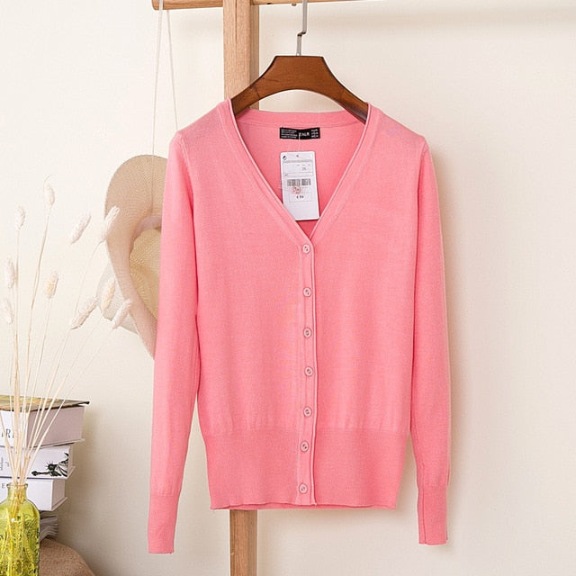 Women Knitted Cardigan Coat Winter Casual V-Neck Long Sleeve