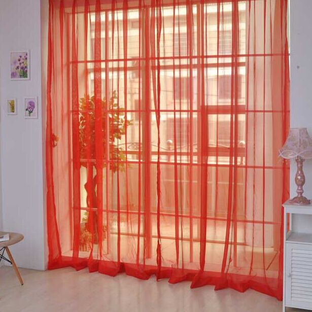 Pure Color Tulle Door Window Curtain Drape Panel Sheer Scarf Valances 1 PCS