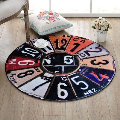 Europe Creative Retro wall clock pattern Round carpet Bedroom living room hanging basket round mat Desk computer chair pad rug