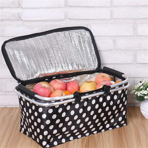 Oxford Cloth Folding Picnic Camping Insulated Cooler Cool Hamper Storage Basket Bag Outdoor BBQ Food Organizer