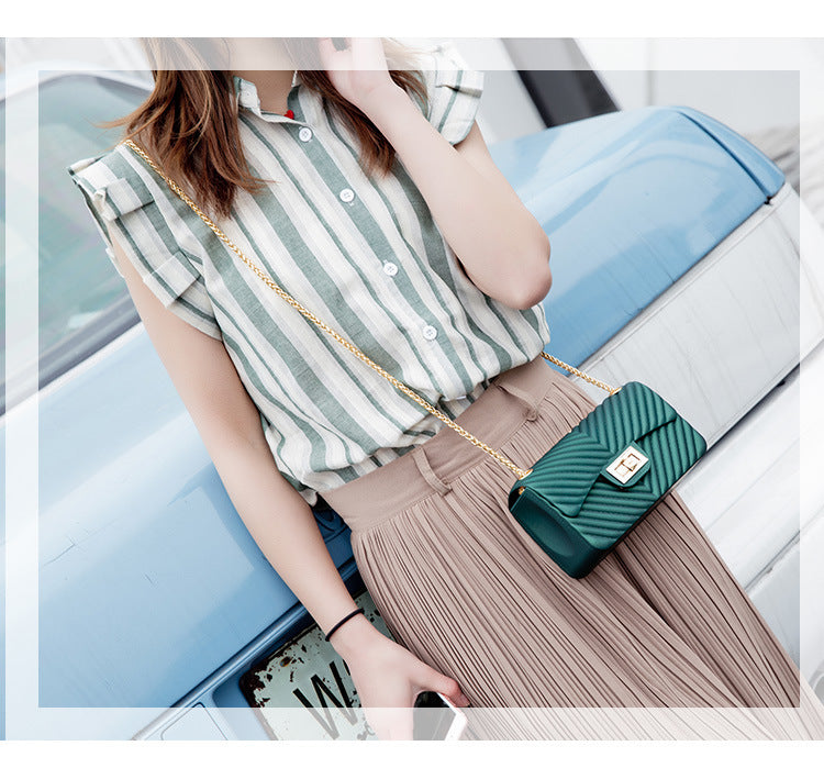 LKX Fashion Trend Small V Style Jelly Handbag Chain Single Shoulder Satchel Bag Women Clutch Crossbody Bag