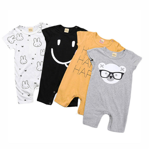 Baby rompers summer style power cartoon eyes print conjoined baby boy girl clothing newborn baby rabbit short-sleeved clothes