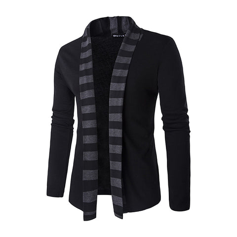 Men's Striped Long Sleeve Slim Regular Cardigan