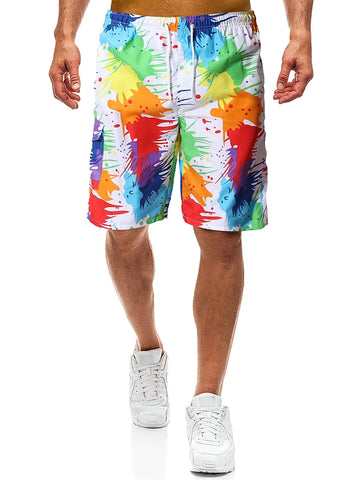Men's Beach Style / Tropical Rainbow Print Loose Short Pants