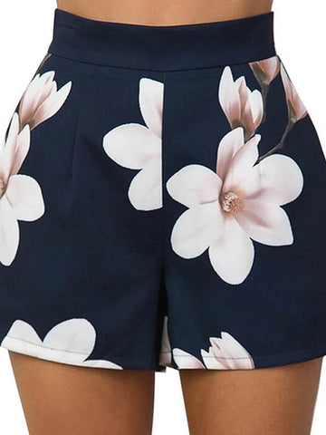 Women's Basic Shorts Pants - Floral Blue