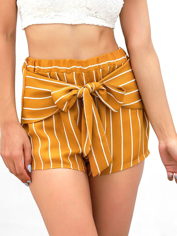 Women's Basic Shorts Pants - Solid Colored Yellow