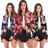 Stand Collar Long Sleeve Bird Print Pocket Women Jacket