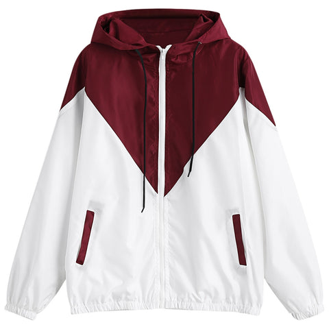 Hooded Long Sleeve Color Blocking Pocket Jacket Plus Size Women Hoodie