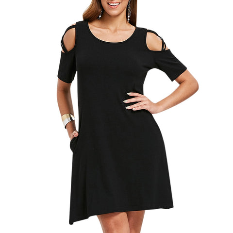 Criss Cross Sleeve Round Neck Shift Dress