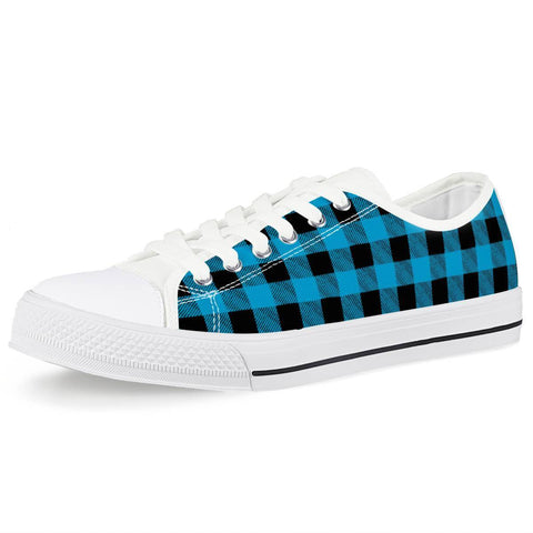 Electric Creations Shoes Women US5 (EU35) Blue Plaid - White Low Top Canvas Shoes