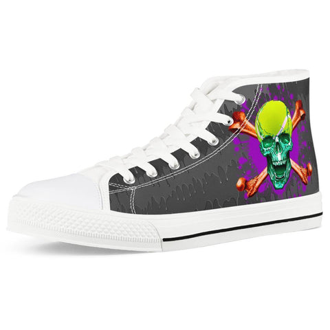 Electric Creations Shoes Women US5 (EU35) Double Cross Skull - White High Top Canvas Shoes