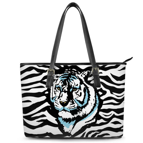 Gigi's Market Bags MEDIUM Stripes of Winter - Leather Tote Bags