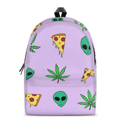 Gigi's Market Bags SMALL Alien Pizza Weed - All Over Print Cotton Backpack