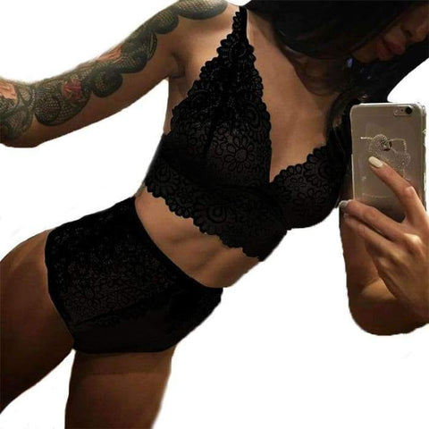 Gigi's Market black / L Sexy Underskirt women Lace Transparent silk slip shop underwear lingerie embroidery set