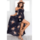 Gigi's Market ELSVIOS Women Off Shoulder Floral Print Boho Dress Fashion Beach Summer Dresses XS-5XL