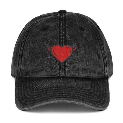 Gigi's Market, LLC Black DEVIL HEART | Vintage Cotton Twill Cap