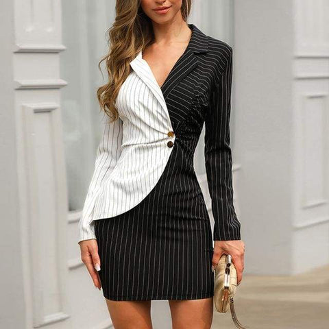 Gigi's Market, LLC Black / L Striped Insert Blazer Dress Long Sleeve