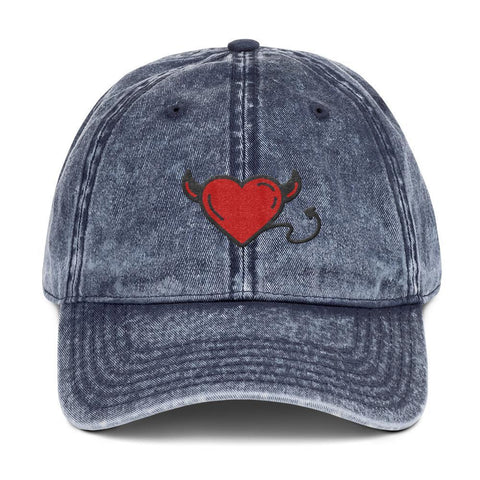 Gigi's Market, LLC Navy DEVIL HEART | Vintage Cotton Twill Cap