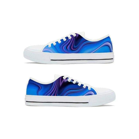 Gigi's Market, LLC Shoes Women 5.5 / White Canvas Low Top Shoes | Blue & Purple