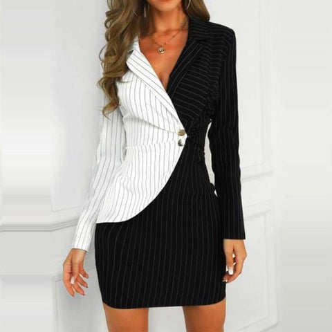 Gigi's Market, LLC Striped Insert Blazer Dress Long Sleeve