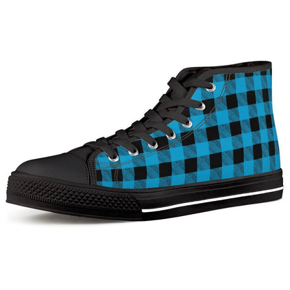 Gigi's Market Shoes Women US5 (EU35) Blue Plaid - Black High Top Canvas Shoes