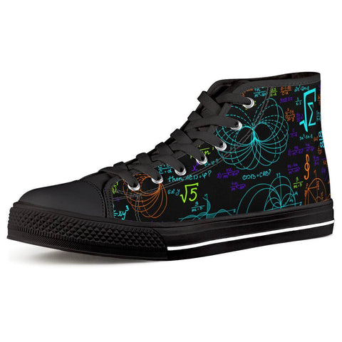 Gigi's Market Shoes Women US5 (EU35) Math Formula - Black High Top Canvas Shoes