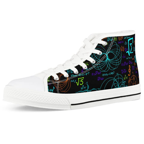 Gigi's Market Shoes Women US5 (EU35) Math Formula - White High Top Canvas Shoes