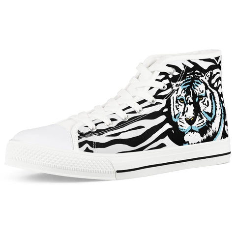 Gigi's Market Shoes Women US5 (EU35) Stripes of Winter - White High Top Canvas Shoes