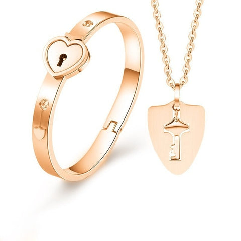 Lock Key Stainless Steel Jewelry Bracelet & Necklace Couple Sets